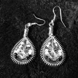 Hand woven beaded tear drop earrings